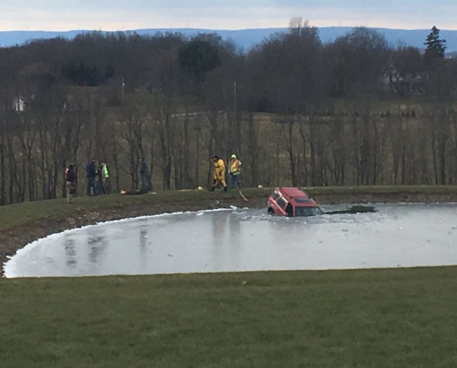 This red SUV took a splash into a pond in Dimock Wednesday morning.<p></p>