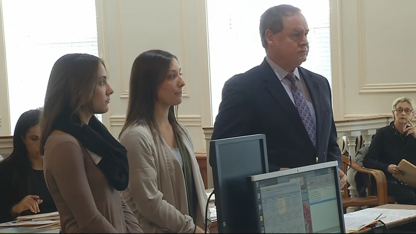 Two women accused of spray-painting graffiti on the Cliff Walk appear in Newport District Court, Wednesday, Dec. 13, 2017. (WJAR)