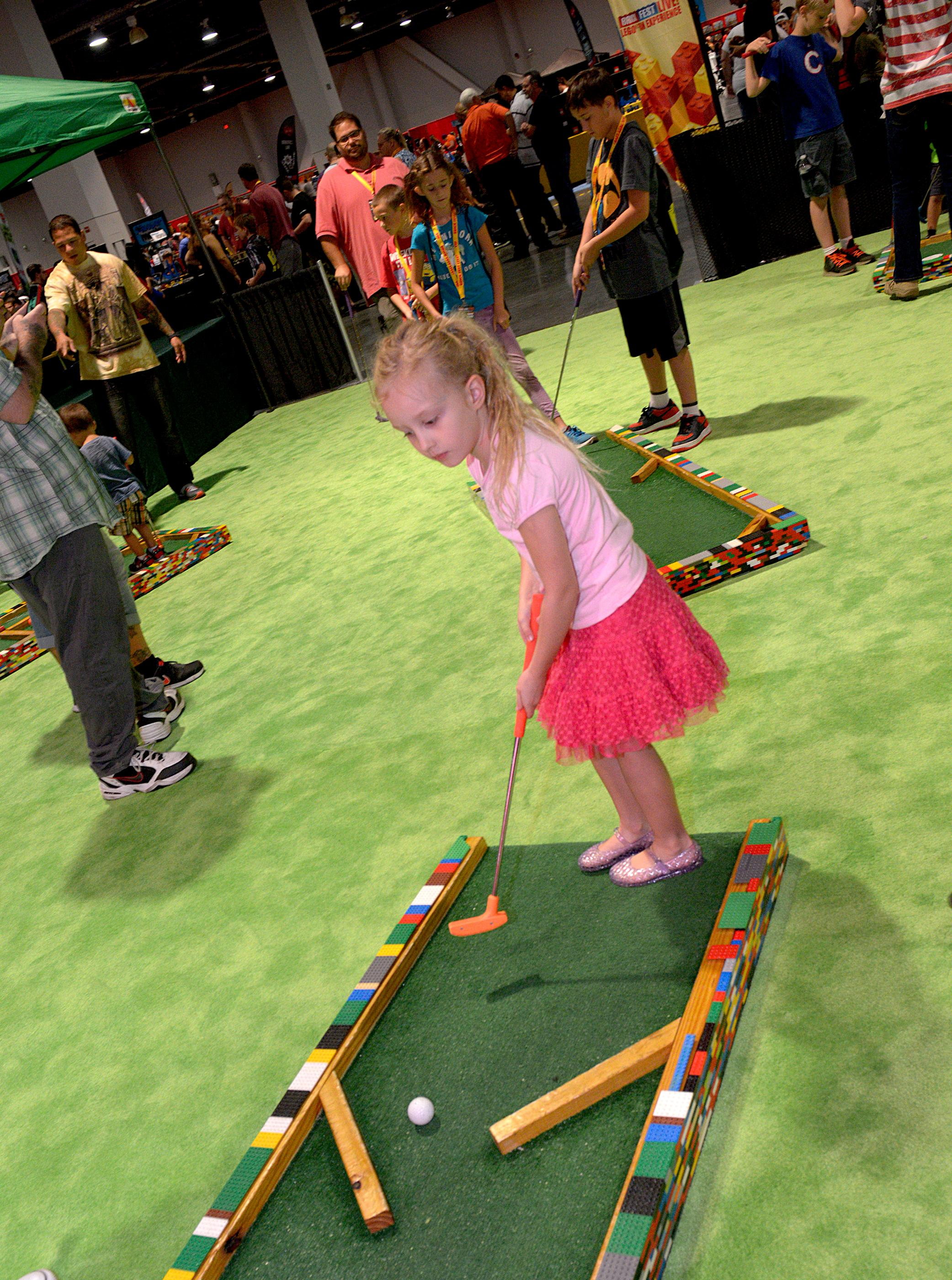 Kids get to play minature golf during the Brick Fest Live Lego Fan Experience at the Las Vegas Convention Center, September 9, 2017. [Glenn Pinkerton/Las Vegas News Bureau]