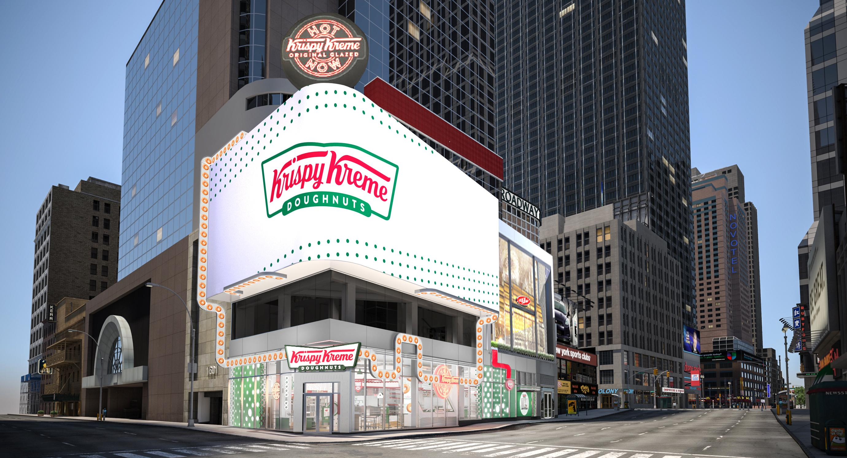 Krispy Kreme Times Square Flagship at Broadway and 48th Street will feature hot, fresh doughnuts 24/7, world's largest Hot Light, new immersive and interactive digital experiences, and exclusive merchandise. (CNN Newsource){&nbsp;}<p></p>