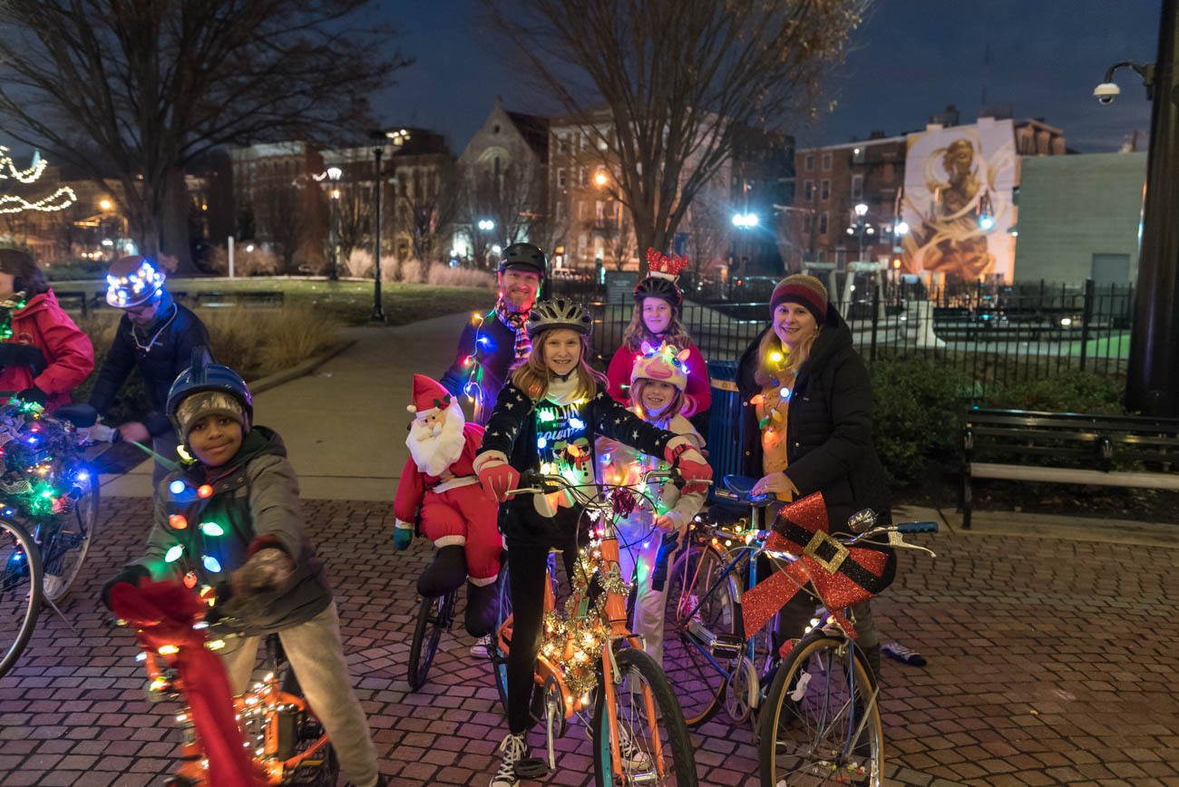 The Ferry family comes prepared wearing Christmas lights for the Holiday BRIGHT ride through Downton and OTR on{ }Saturday, December 22. / Image: Mike Menke // Published: 1.3.19