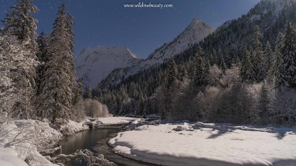 Watch: Gentle snow-covered river shines under the moonlight