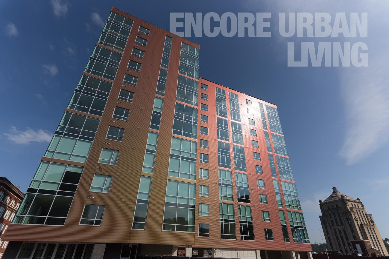 Encore Urban Living / DESCRIPTION: A state-of-the-art, color-shifting tower filled with luxury apartments. It has a pool, workout room, rooftop deck, common areas, and beautiful views of the city. / APARTMENTS START AT: $1395 per month / ADDRESS: 716 Sycamore Street / PHONE: (513) 275-7145 / IMAGE: Phil Armstrong, Cincinnati Refined // Published: 1.17.18