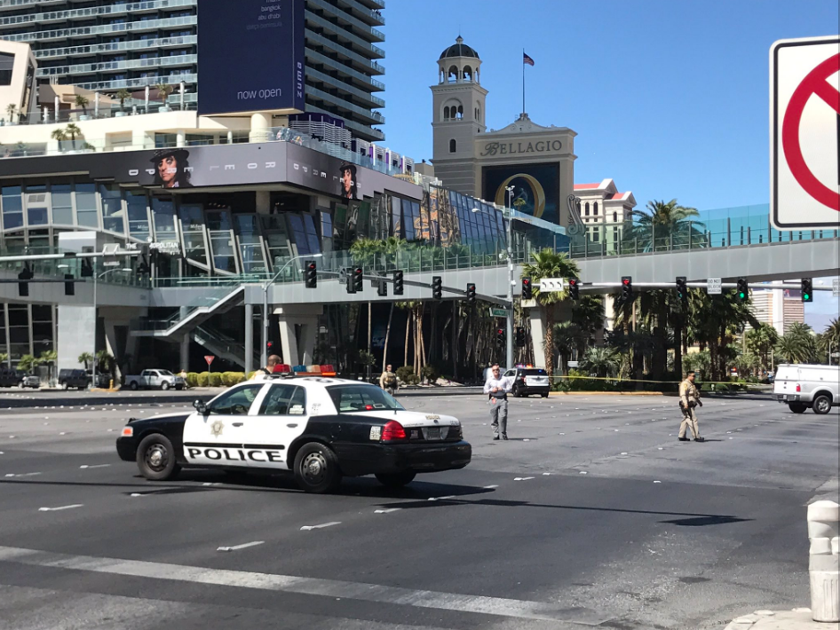 The Las Vegas Metropolitan Police Department responds to a reported shooting on Las Vegas Boulevard, Saturday, March 25, 2017. (KSNV/Kyndell Nunley)