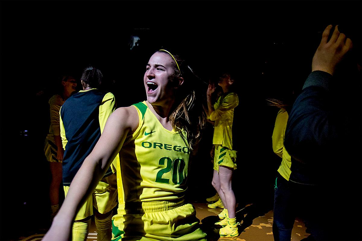 The Duck's Sabrina Ionescu (#20) is introduced at the start of the game against the Ole Miss Rebels. The Oregon Ducks womens basketball team defeated the Ole Miss Rebels 90-46 on Sunday at Matthew Knight Arena. Sabrina Ionescu tied the NCAA record for triple-doubles, finishing the game with 21 points, 14 assists, and 11 rebounds. Ruthy Hebard added 16 points, Satou Sabally added 12, and both Lexi Bando and Maite Cazorla scored 10 each. The Ducks will next face off against Texas A&M on Thursday Dec. 21 and Hawaii on Friday Dec. 22 in Las Vegas for Duel in the Desert before the start of Pac-12 games. Photo by August Frank, Oregon News Lab