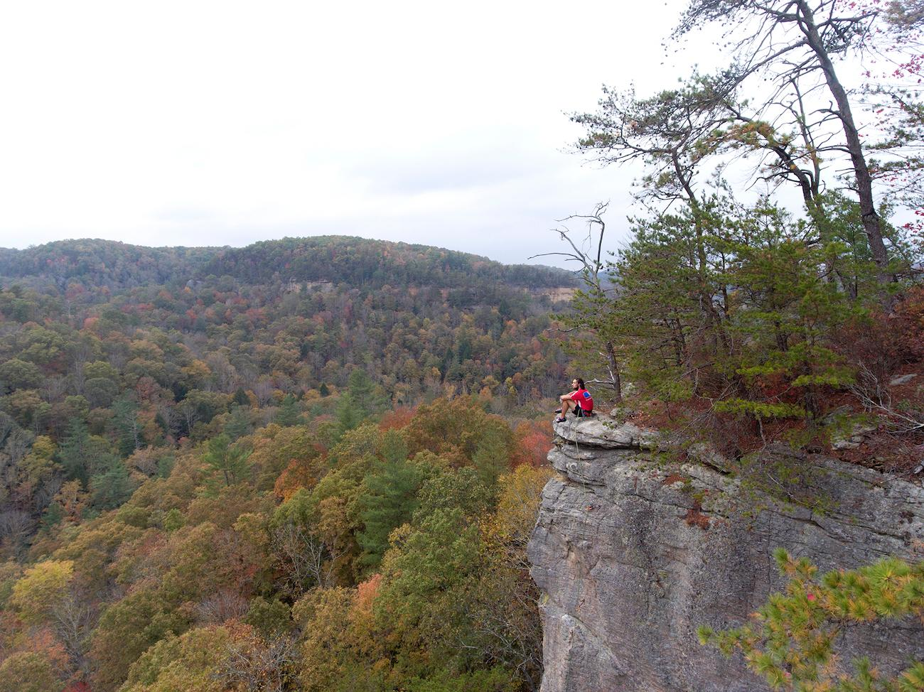 <p>PLACE: Red River Gorge in Kentucky / DISTANCE: 133 miles southeast of Cincinnati, a two-hour drive / Kentucky's Red River Gorge boasts spectacular rock features such as sandstone arches and towering cliffs, hiking trails, wildlife viewing, and more. Fall's cooling temperatures and brilliant displays of color make it an excellent place to hike or drive. / Image courtesy of the Kentucky Department of Tourism // Published: 10.19.19</p>