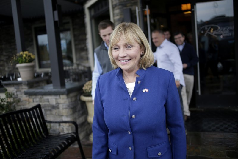Lt. Gov. of New Jersey Kim Guadagno leaves a dinner after making a campaign stop the day before the election in Randolph, N.J., Monday, Nov. 6, 2017. Guadagno is the Republican candidate for the governor of New Jersey in tomorrow's election. (AP Photo/Seth Wenig)<p></p>