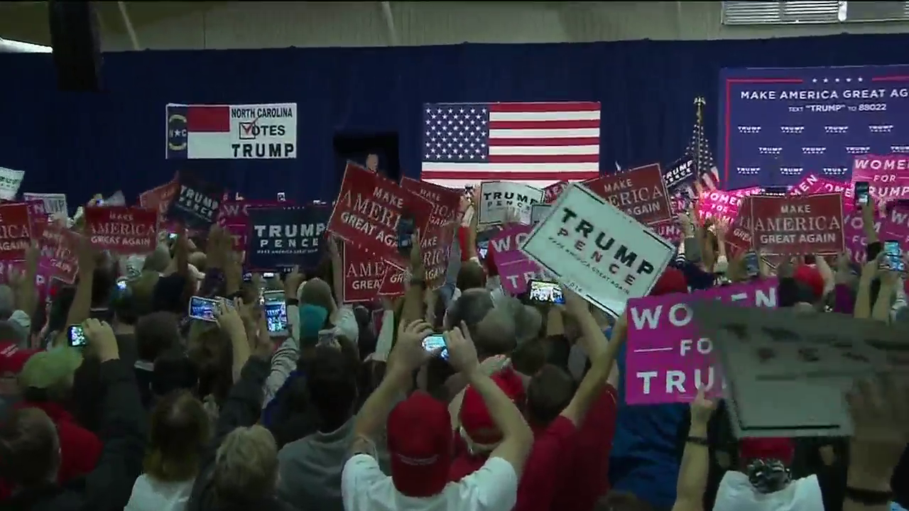 Donald Trump campaigns at the WNC Ag Center on October 21. (Photo credit: WLOS staff)