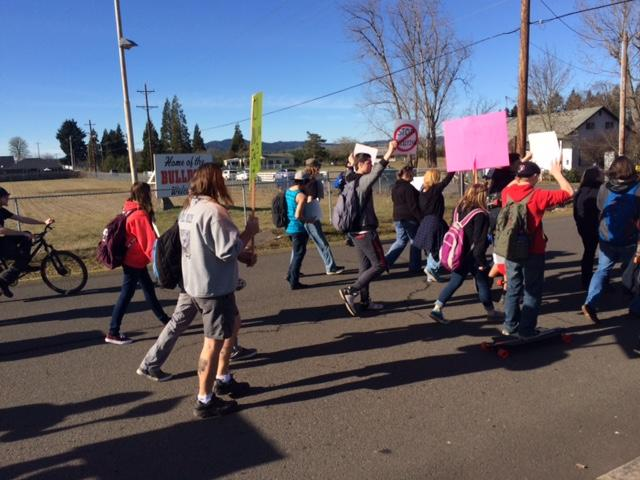 About 50 parents and students had gathered outside Creswell High School on Friday to express their concerns about the actions of the administrators. (SBG)