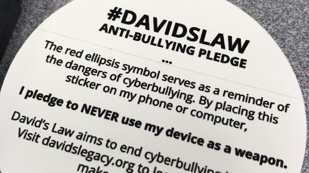 Anti bullying sticker pledge launched by the david legacy foundation