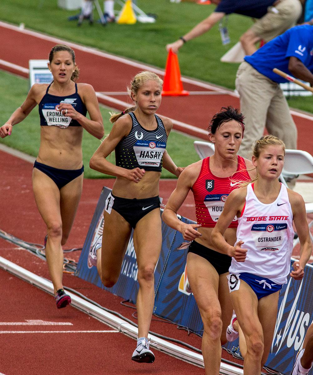From left to right, Tara Welling, Jordan Hasay, Shelby Houlihan, and Allie Ostrander race in the second heat of the Women�s 5000m preliminary run. Welling finished with a time of 15:33.34. Hasay finished with a time of 15:34.50. Houlihan finished with a time of 15:26.91 and Ostrander finished with a time of 15:27.13. Day seven of the U.S. Olympic Track and Field Trial took place Thursday at Hayward Field in Eugene, Ore. Events continue through July 10. (Photo by Amanda Butt)