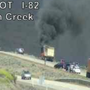 Truck fire at I-82 shuts down westbound lanes