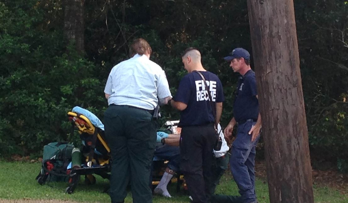 Beaumont Fire assisted Orange County in rescuing a man who was stuck in a tree at about 5:15 p.m. on Tupelo Street in Vidor.  (KFDM photo)