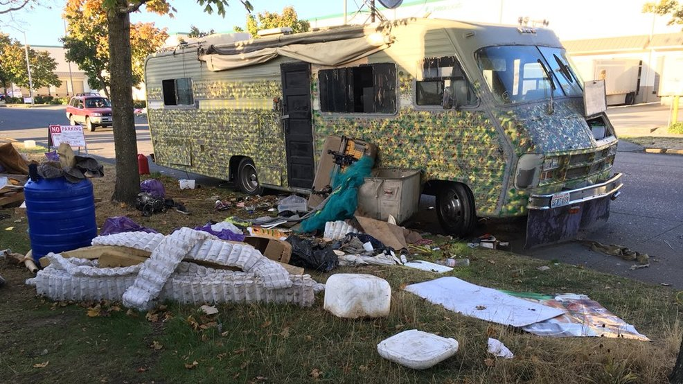 A homeless RV surrounded by litter in Seattle's SoDo neighborhood. (photo: KOMO News).{ }