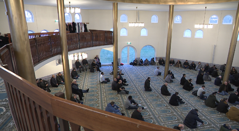 Many come to worship during a prayer service at the mosque outside of Malmö, Sweden (Sinclair Broadcast Group)<p></p>