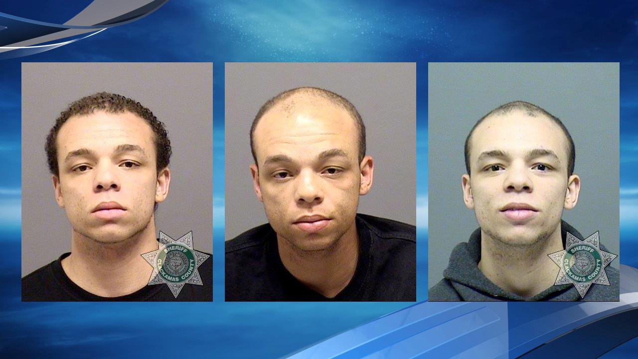 Three mug shots from past arrests of suspect DeShaun Swanger.