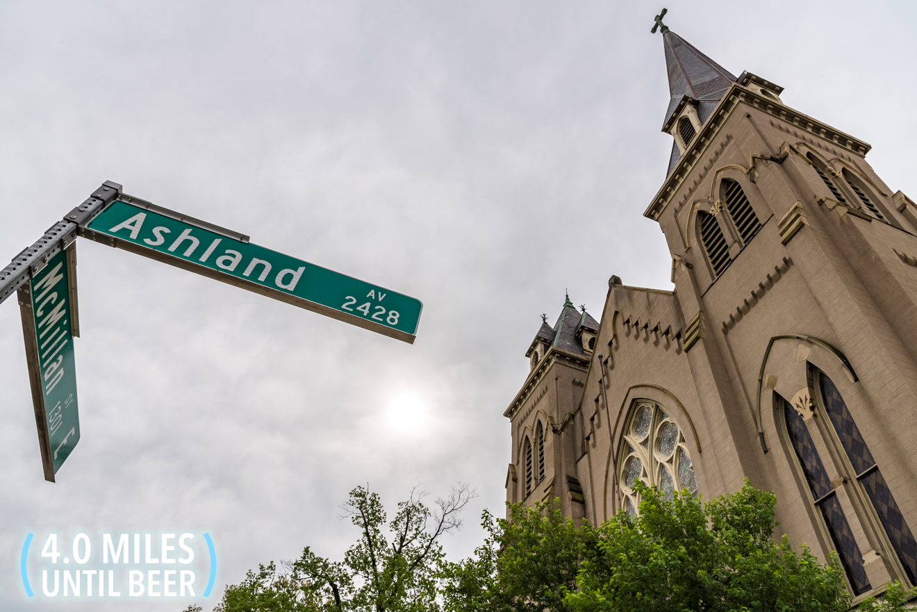 Continue on E. McMillan Street. You'll pass a church on the right at the intersection of Ashland Avenue. / Image: Phil Armstrong, Cincinnati Refined // Published: 4.25.17