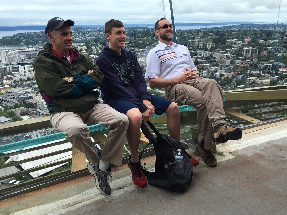 "The new benches called ""Skyrisers"" are slanted back so you can sit back and take a selfie over the city. This is all part of the Space Needle's $100 million renovation. (KOMO News){ }"