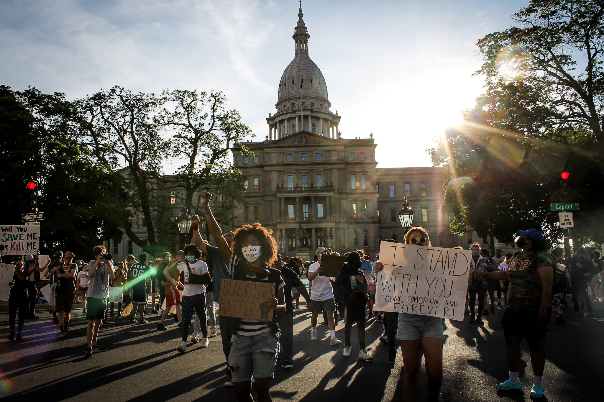 Protesters in Lansing marched in front of the Michigan Capitol Building on June 3, 2020.{ } (WWMT/Mikenzie Frost)