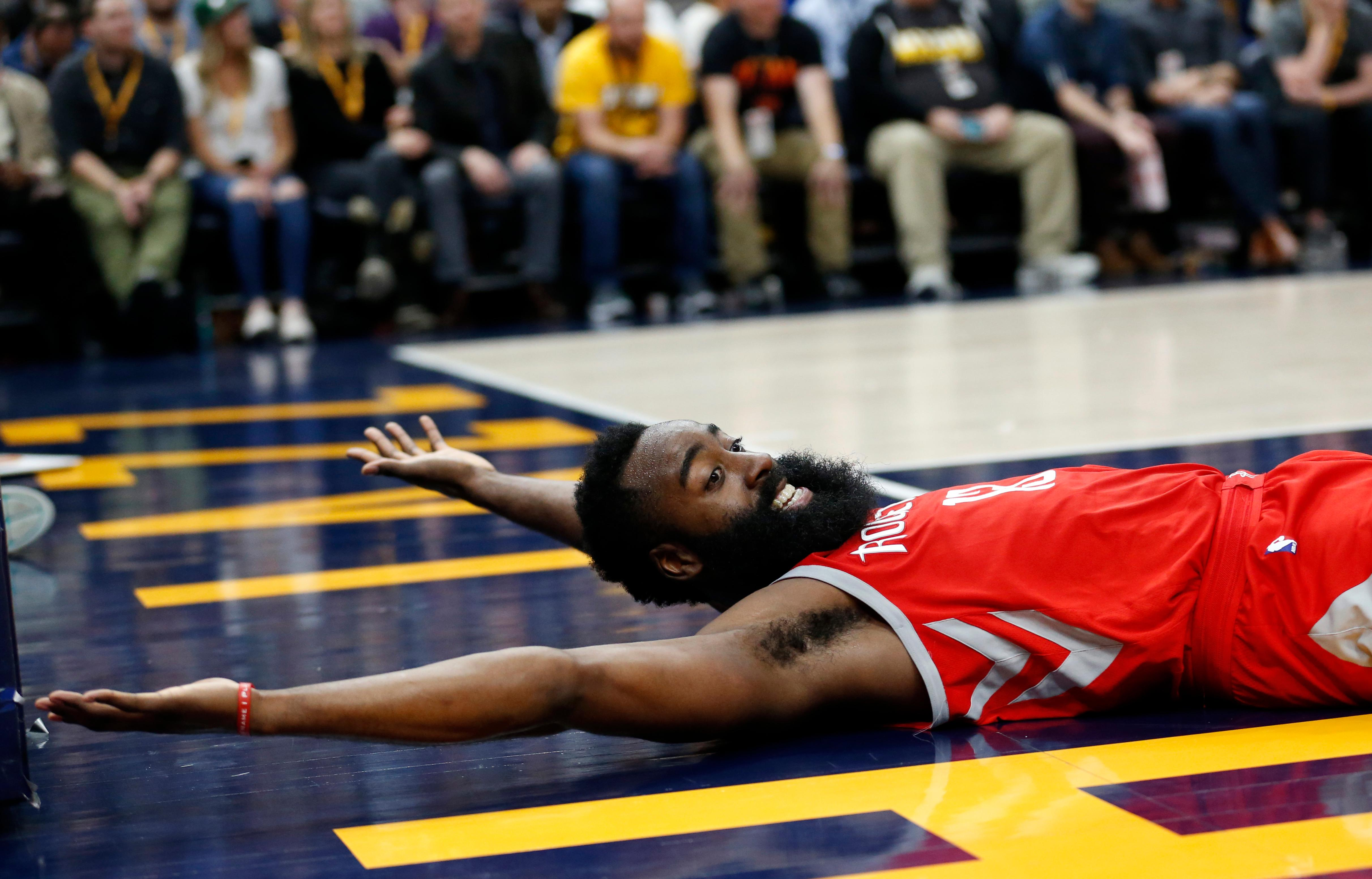 Houston Rockets guard James Harden (13) looks for a call in the second half during an NBA basketball game against the Utah Jazz, Monday, Feb. 26, 2018, in Salt Lake City. (AP Photo/Rick Bowmer)