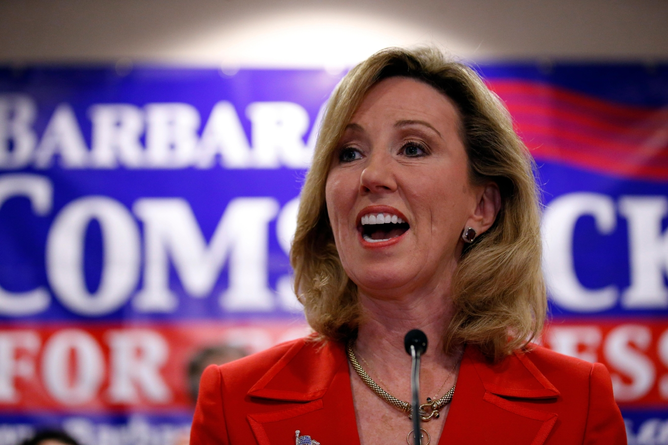 FILE - In this Nov. 4, 2014 file photo. then-Virginia Republican Congressional candidate, now-Rep. Barbara Comstock, R-Va. speaks in Ashburn, Va.{ } (AP Photo/Alex Brandon, File)