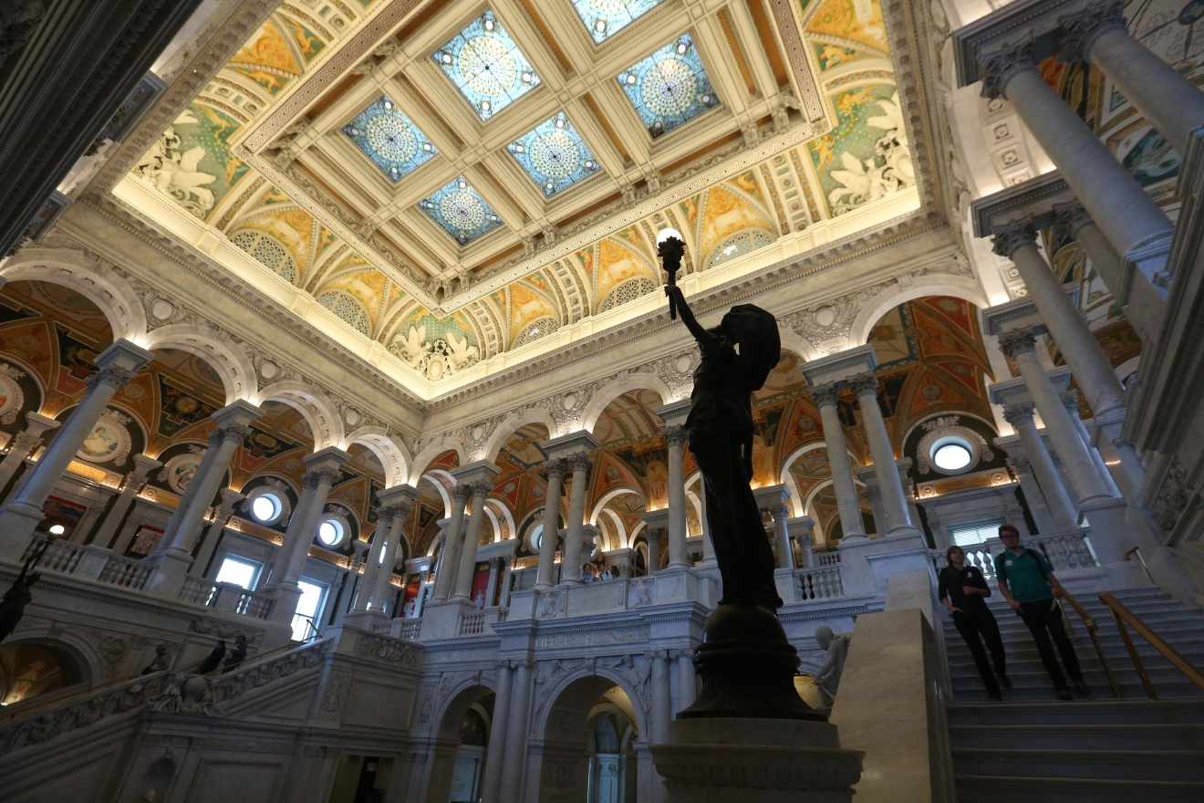 The Library of Congress was commissioned in 1886 and completed in 1897. It's interior is in the beaux-arts style and it's walls are covered in more than 50 paintings and sculptures. (Amanda Andrade-Rhoades/DC Refined){ }