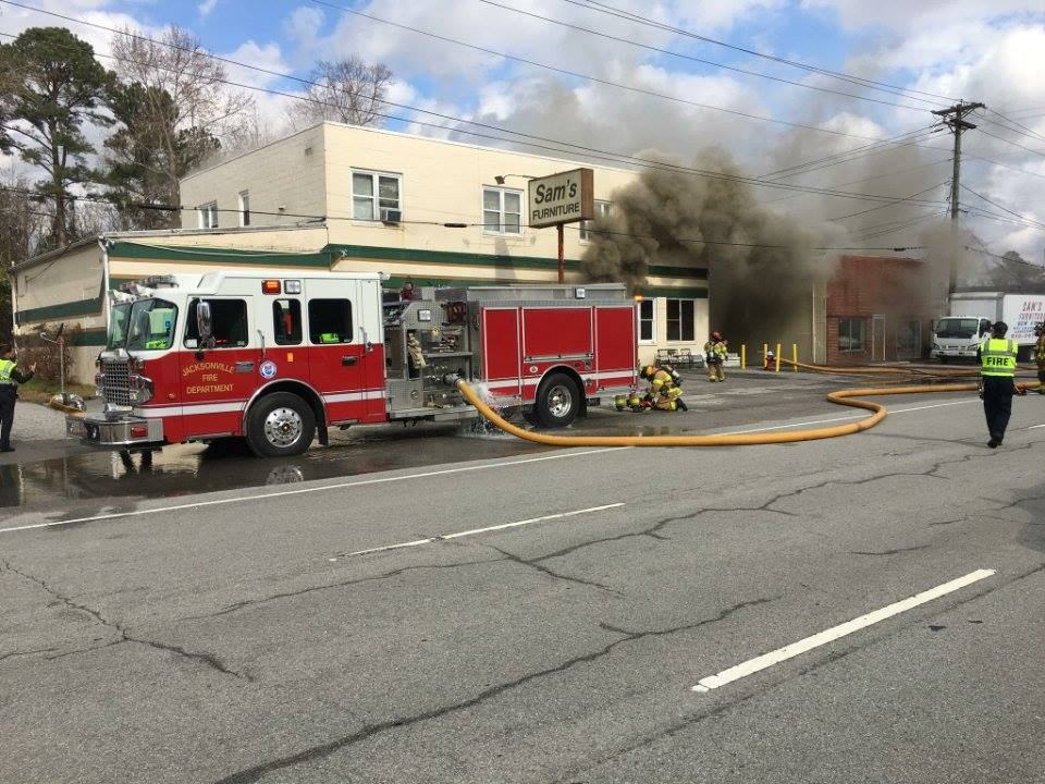 A furniture store in Jacksonville caught on fire this afternoon. (Jacksonville Public Safety)<p></p>