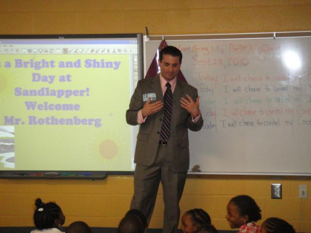 Henry Rothenberg visiting with the second graders at Sandlapper Elementary