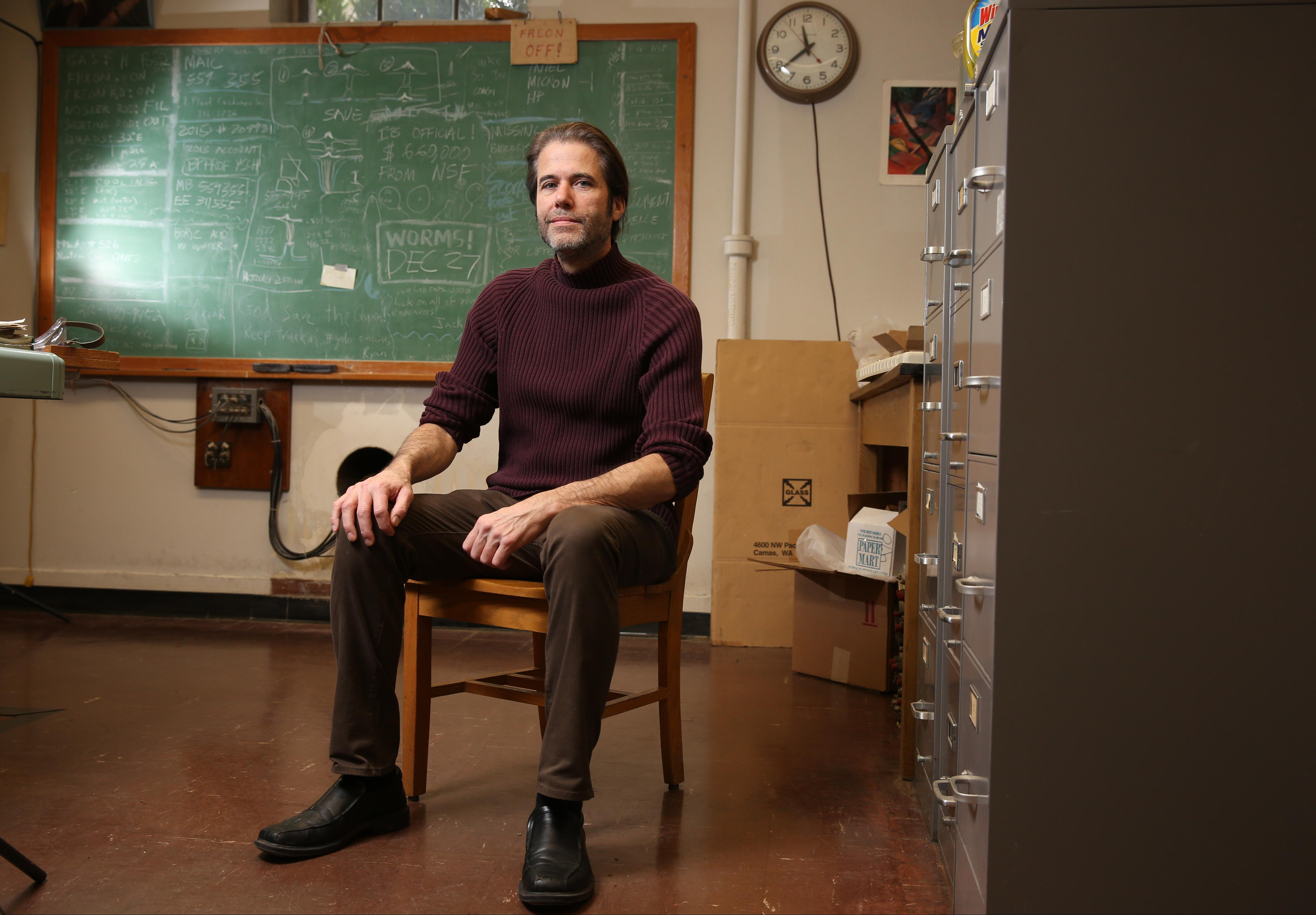 Robert Schofield poses for a picture inside his lab on Tuesday, Jan 26, 2016, on the campus of the University of Oregon in Eugene, Oregon.
