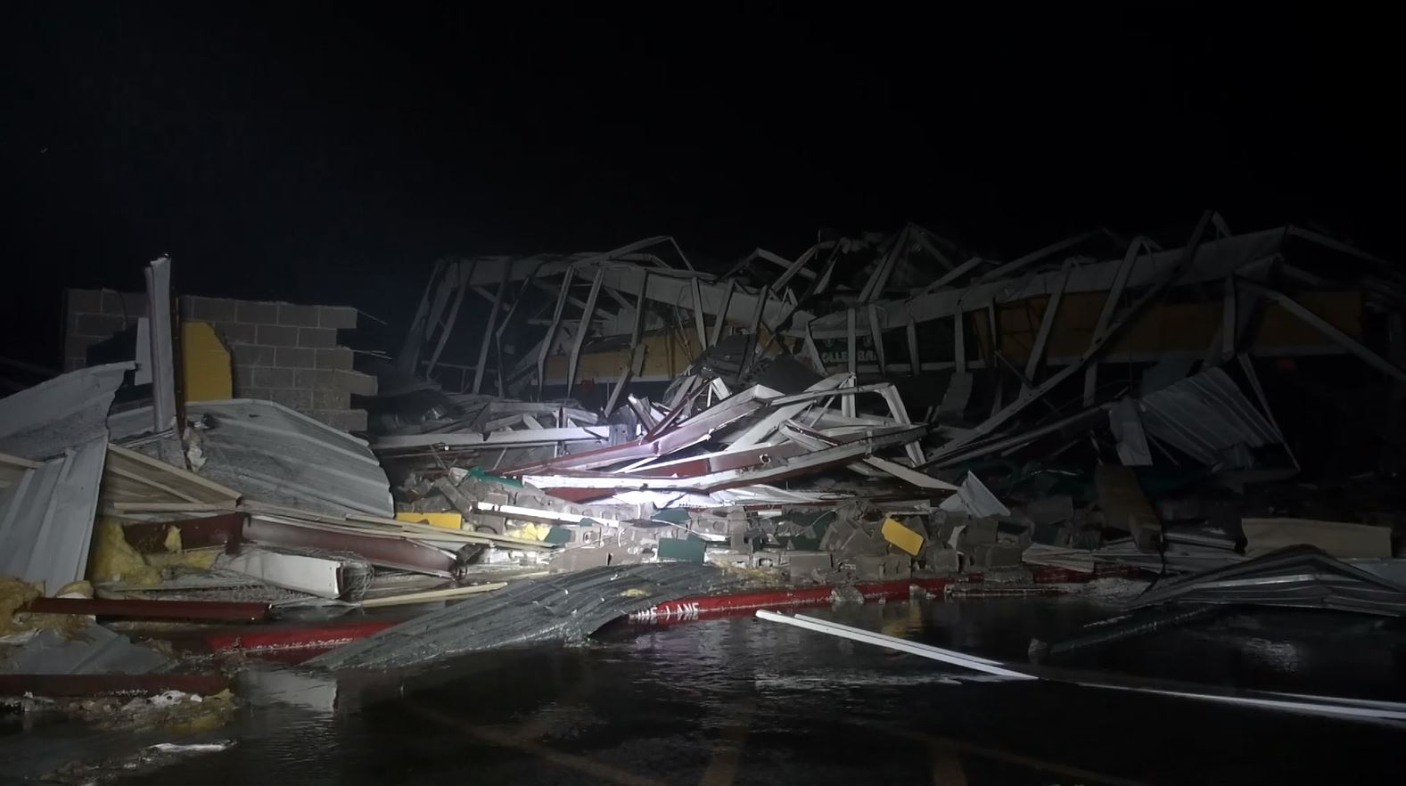 Damage to Rockport-Fulton High School caused by Hurricane Harvey.