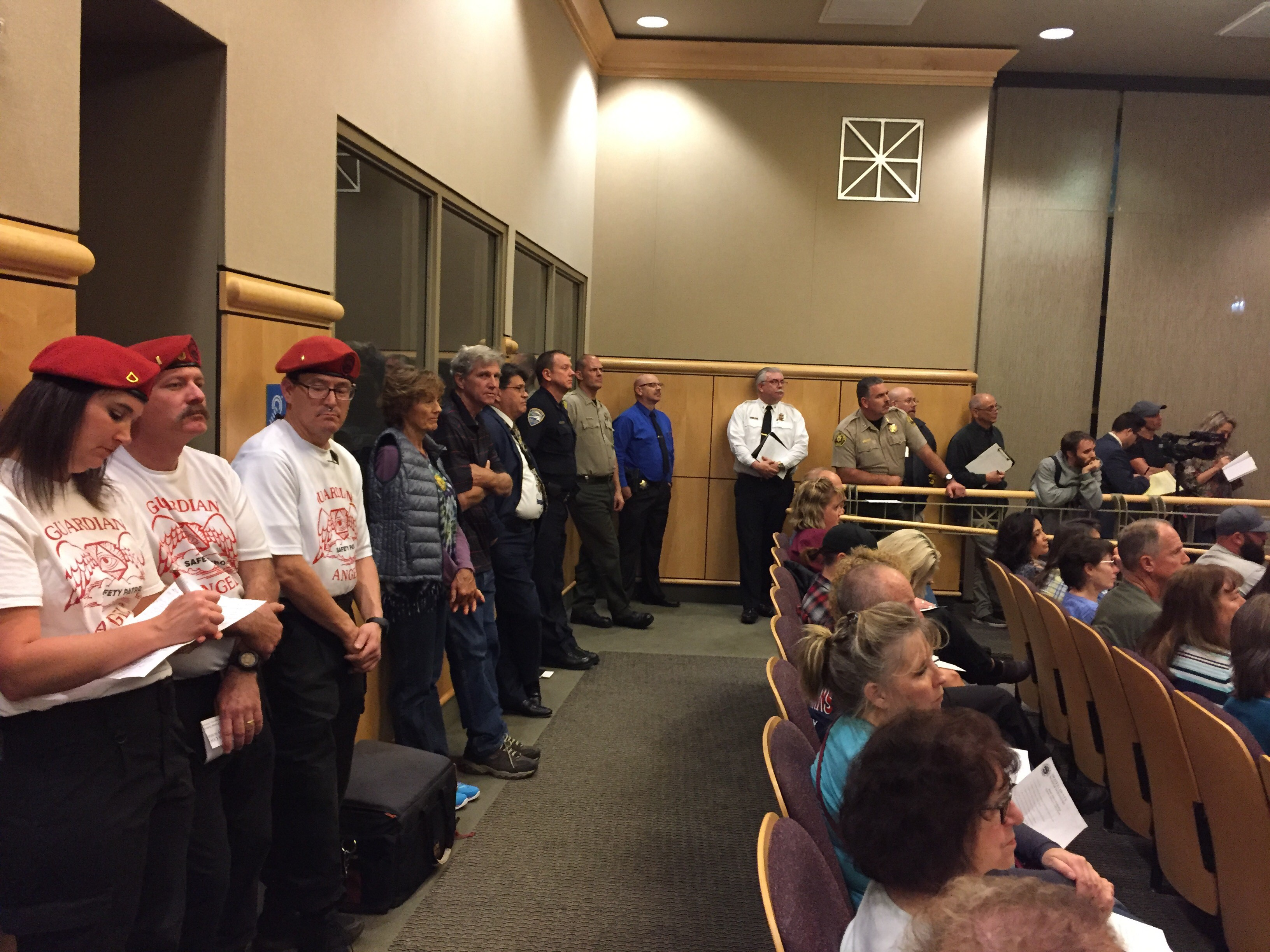 Members of the local Guardian Angels, as well as law enforcement officers and citizens, listen to discussion at the Public Safety Workshop in Redding. The first of several planned workshops was hosted by the Shasta County Board of Supervisors, Wednesday, February 7, 2018.