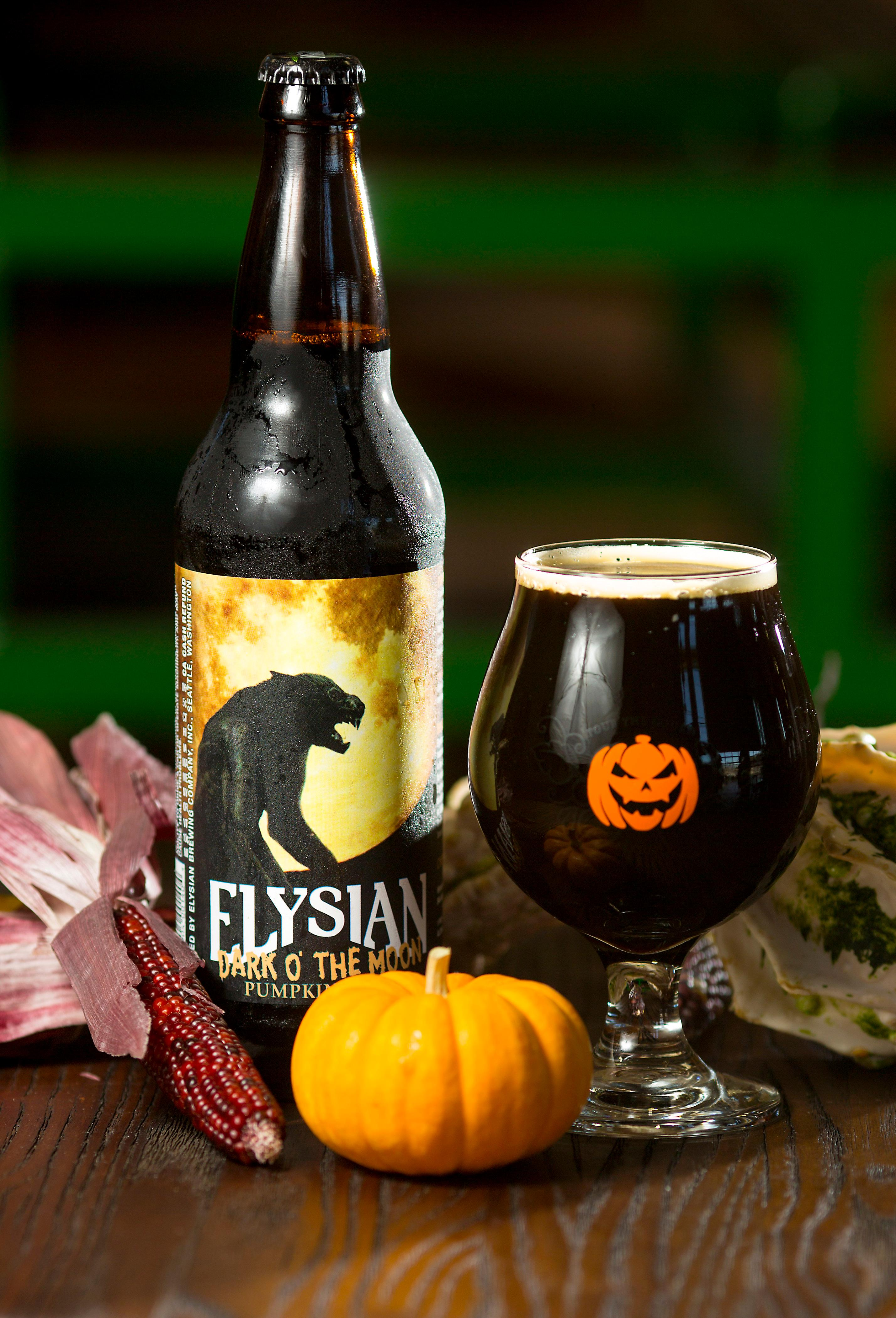 "Elysian Brewing's Dark O' The Moon Pumpkin Stout is one of the many beers that will be featured at the Great Pumpkin Beer Festival this weekend. Elysian's tasting notes say the stout ""pours dark as night with creamy tan head. A little smokiness on the nose with malty bittersweet chocolate and a little coffee with subtle earthy pumpkin and spices for an overall nice and creamy mouth."" (Sy Bean / Seattle Refined)"