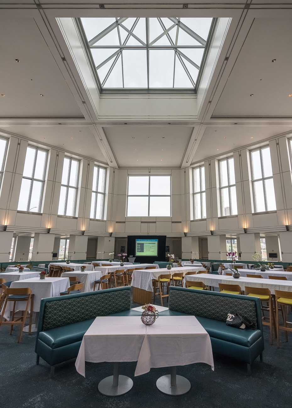 The cafeteria inside P&G is spacious with a skylit atrium. / Image: Phil Armstrong, Cincinnati Refined // Published: 5.7.18