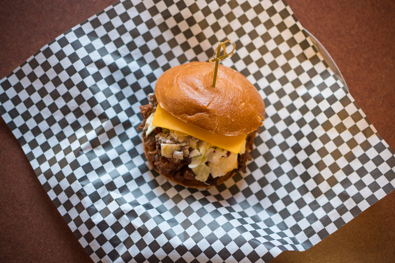 Barbecue beef sandwich with pecan slaw / Image: Phil Armstrong, Cincinnati Refined / Published: 1.1.17