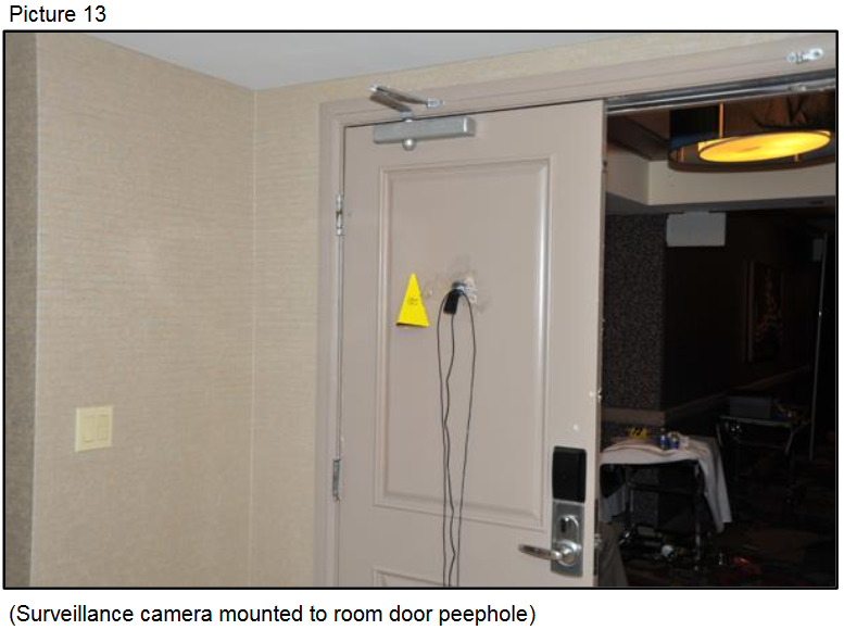 Surveillance camera mounted to room door peephole{ }(Courtesy LVMPD)