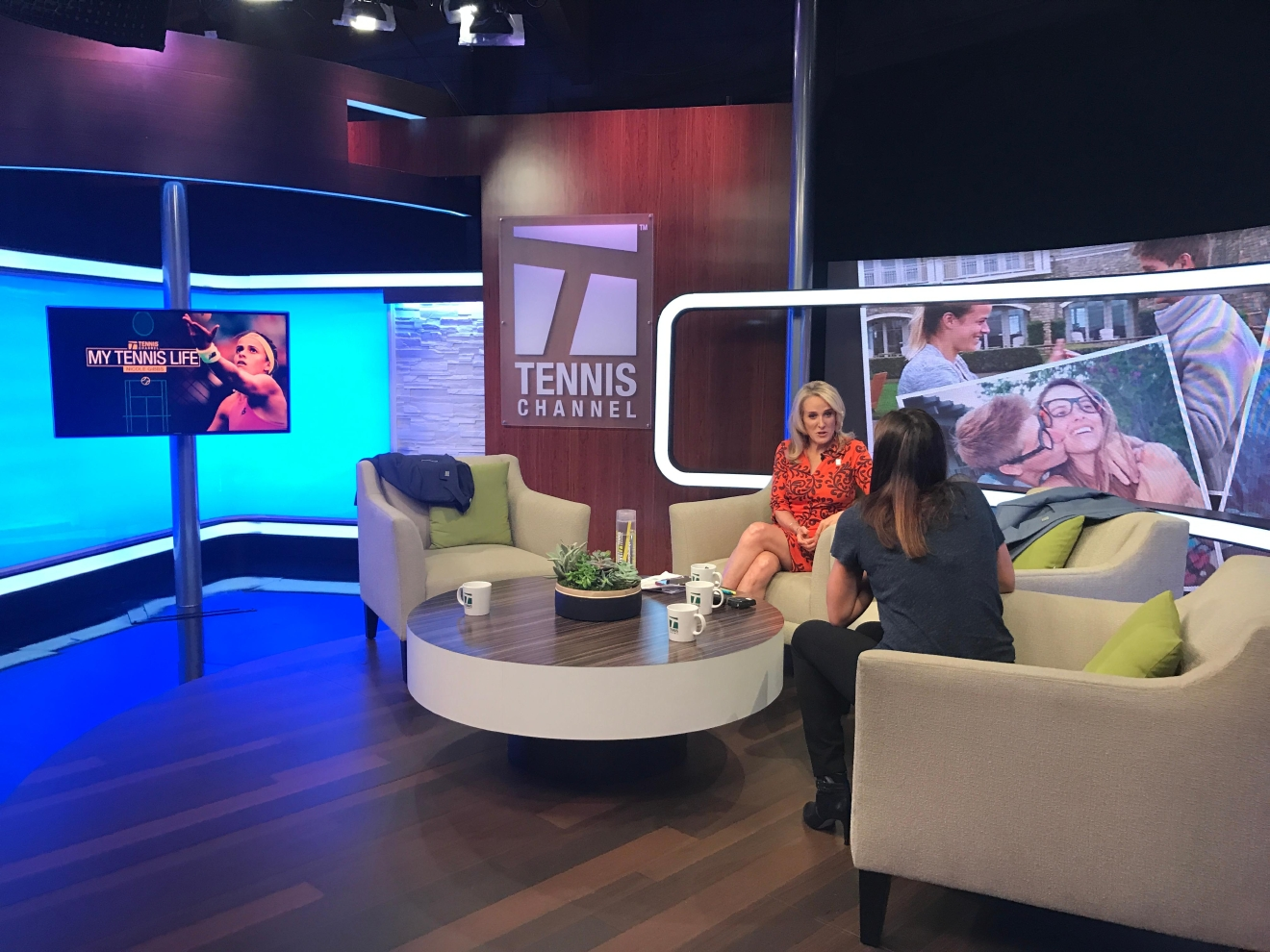 Nicole Gibbs chats on set with Tracy Austin.