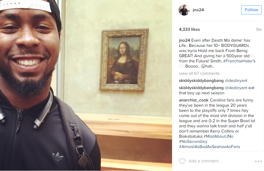 Seems like there's been a lot of European travel for the Skins this summer. Norman managed a selfie with the Mona Lisa. (Image: @jno24 Instagram)