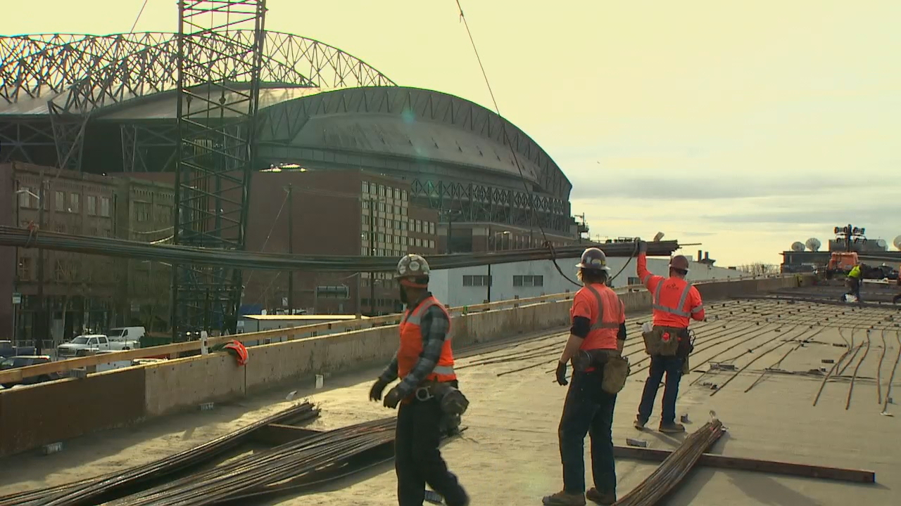 Construction on SR 99 tunnel ramps on schedule, WSDOT says (KOMO Photo)