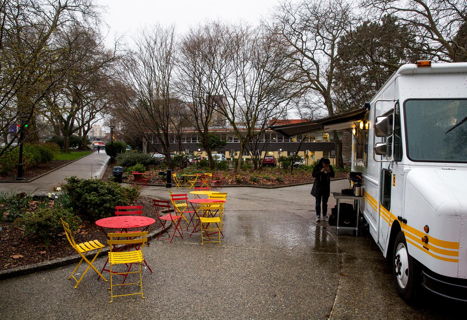 The Sunny Up food truck parked at Denny Park. The truck specializes in serving breakfast sandwiches named after the owner's favorite, most inflluential, women. (Sy Bean / Seattle Refined)