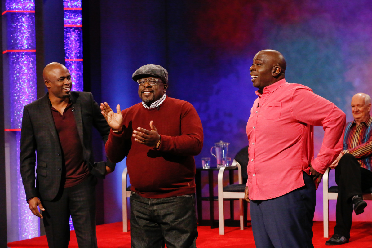 "Whose Line is it Anyway? -- ""Cedric The Entertainer"" -- Image WL707_ CedricTheEntertainer2_0001r.jpg -- Pictured (L-R): Wayne Brady, Cedric the Entertainer, Gary Anthony Williams and Colin Mochrie -- Credit: Robert Voets/The CW -- © 2020 The CW Network, LLC. All Rights Reserved"