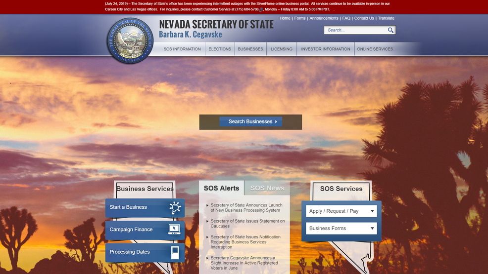 NV Secretary of State's online filing system experiencing intermittent