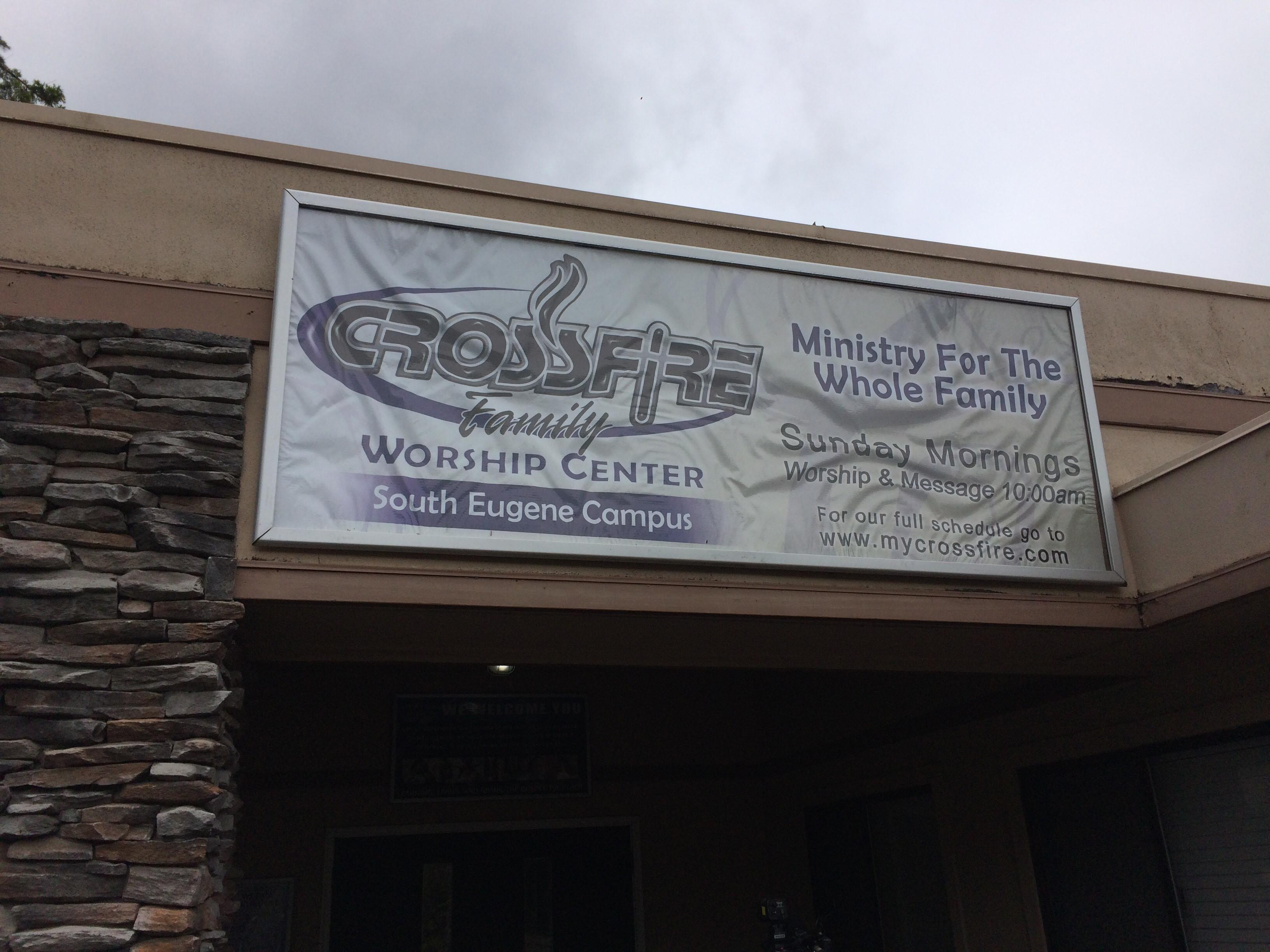 The members of Crossfire Church in Eugene say they're praying for the person who vandalized their windows. (SBG photo)
