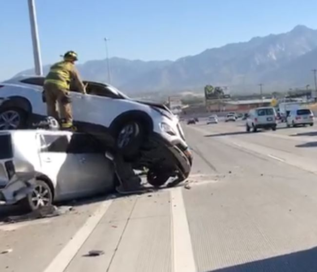 Vehicle lands on top of another during crash on I-15 in Draper. (Photo: KUTV)