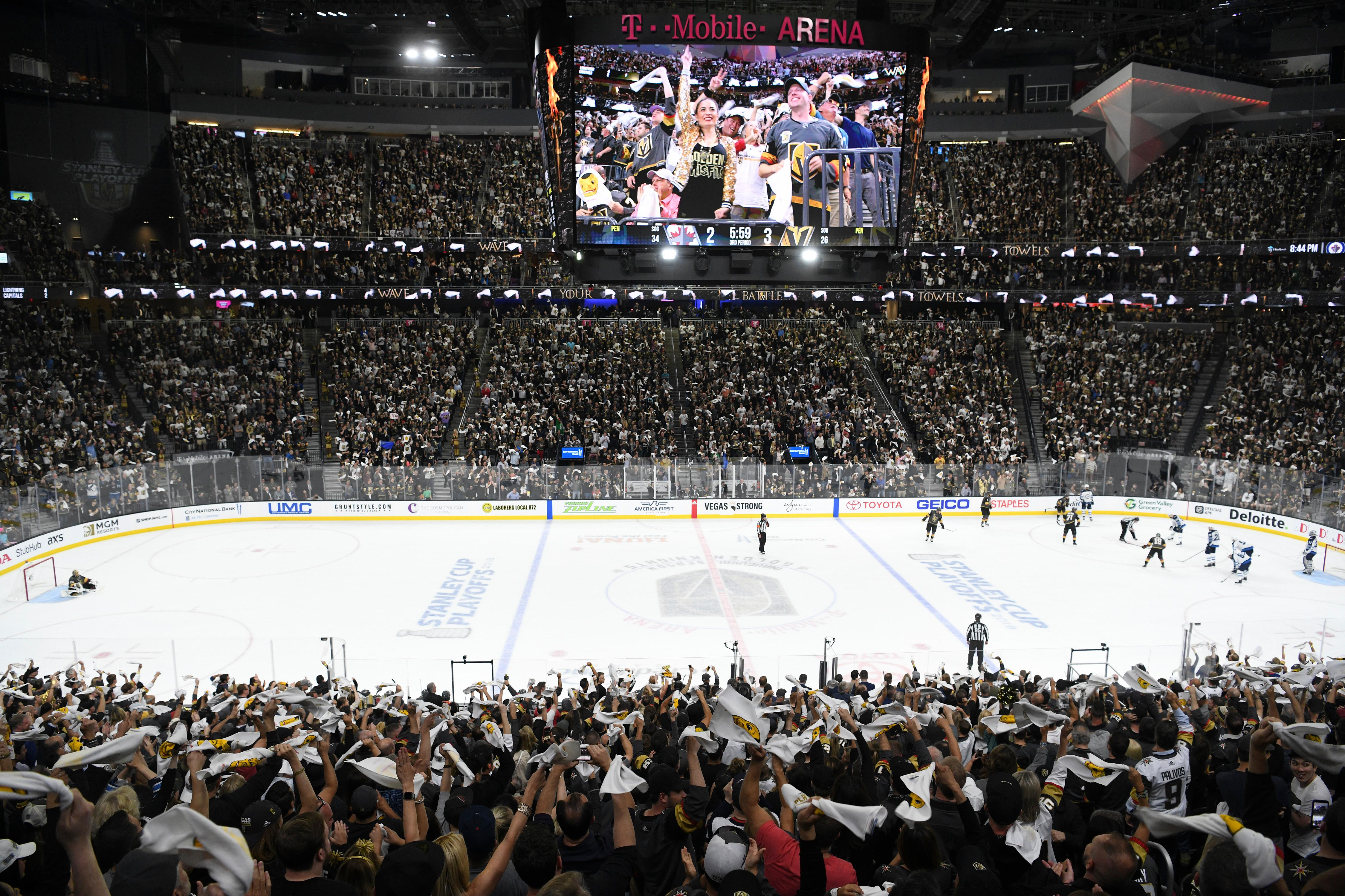 Vegas Golden Knights fans wave towels during Game 3 of their NHL hockey Western Conference Final game against the Winnipeg Jets Wednesday, May 16, 2018, at T-Mobile Arena. The Golden Knights won 4-2 to take a 2-1 lead in the series. CREDIT: Sam Morris/Las Vegas News Bureau