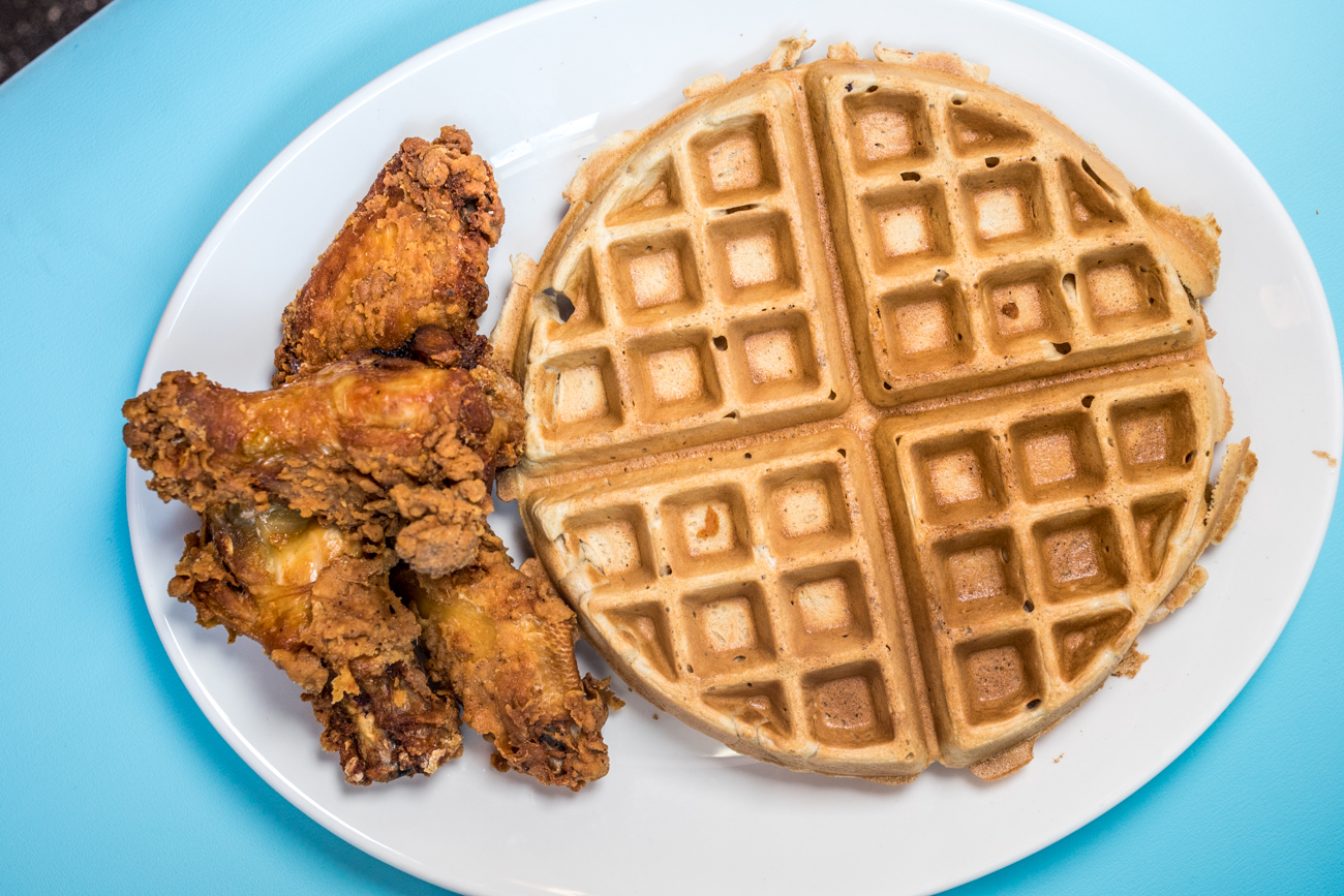 Waffles & Wings: cinnamon spice waffle n' four chicken wings / Image: Catherine Viox // Published: 7.31.20