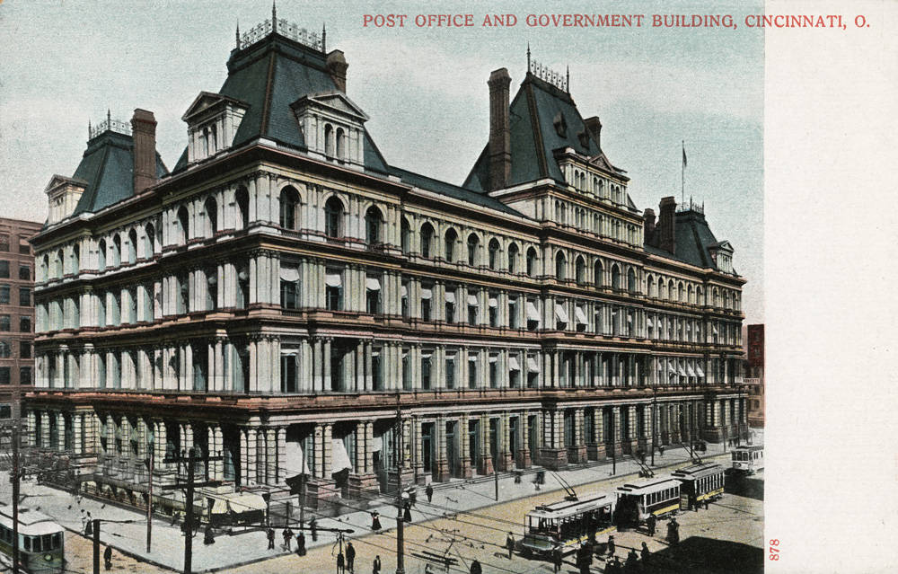 The United States Custom House and Post Office in Cincinnati was completed in 1885 after 11 long years of construction. It cost $5,088,328 to build. In today's money, that would be roughly the equivalent of $132,000,000. It was torn down to make room for the current post office in the mid-1930s. (Source: Inflation Calculator, US Official Inflation Data, Alioth Finance) / From the collection of the Public Library of Cincinnati and Hamilton County - Cincinnati Postcard Collection / Image courtesy of the Public Library of Cincinnati and Hamilton County // Published: 9.27.18