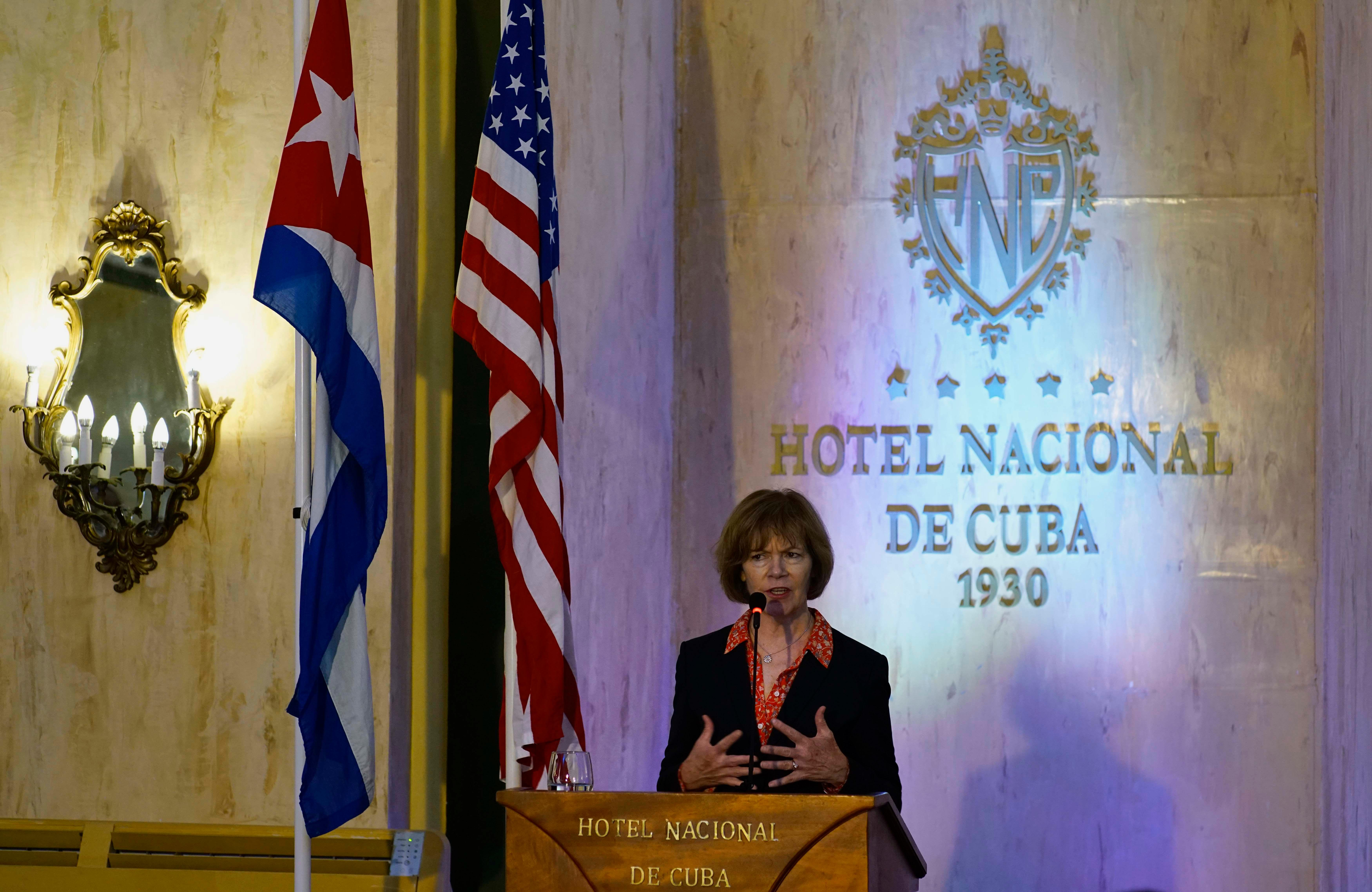 Minnesota Lt. Governor Tina Smith gives a press conference at Hotel Nacional in Havana, Cuba, Thursday, June 22, 2017. Smith is part of the first U.S. delegation to visit Cuba after President Donald Trump announced a revised Cuba policy aimed at halting the flow of U.S. cash to the country's military and security services while maintaining diplomatic relations. (AP Photo/Ramon Espinosa)