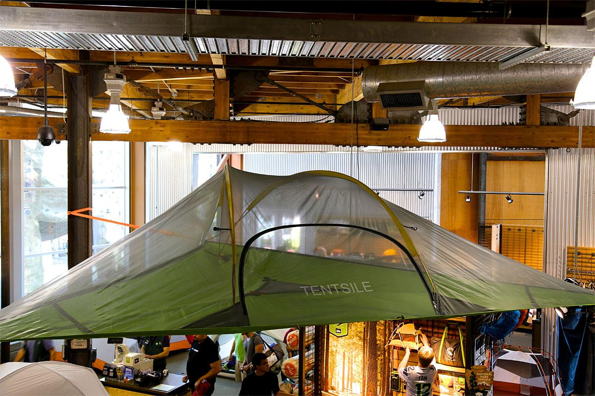 Two words: tree tent! It's better than a hammock and most people will be jealous you have it. All you need is three trees to attach to, and voilà, you are set. (Image: Kristi Waite/Seattle Refined)