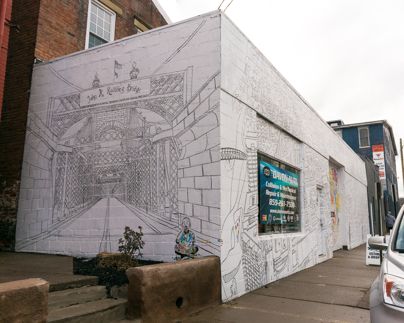 'You Are Here' mural: Phil Rowland's map of Covington mural on West 8th Street. / Image: Phil Armstrong, Cincinnati Refined // Published: 1.24.18