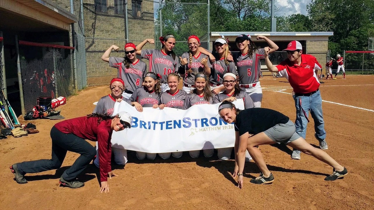 Several athletic teams, including Montreat College softball, Montreat College lacrosse, Montreat College track and field, Eastern Mennonite University track and field, Lord Botetourt High School soccer, Lord Botetourt High School softball and baseball, have written messages of support for Britten Olinger. (Photo credit: BrittenStrong)